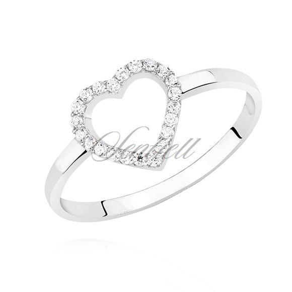 Srebrny pierścionek pr.925 serce wysadzane cyrkoniami