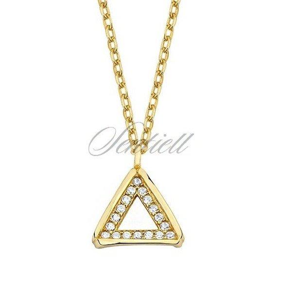Srebrny, pozłacany naszyjnik pr.925 - trójkąt z cyrkoniami
