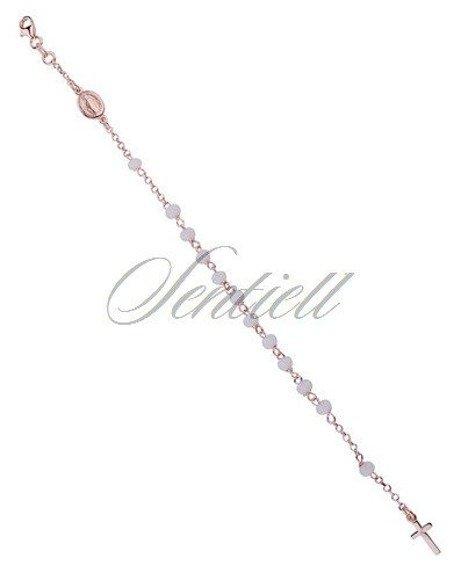 Srebrny różaniec modowy bransoletka pr.925 białe kulki - pozłacany