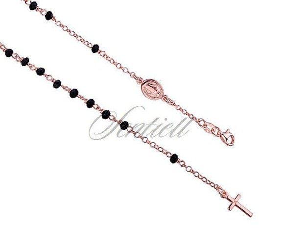 Srebrny różaniec modowy bransoletka pr.925 czarne kulki