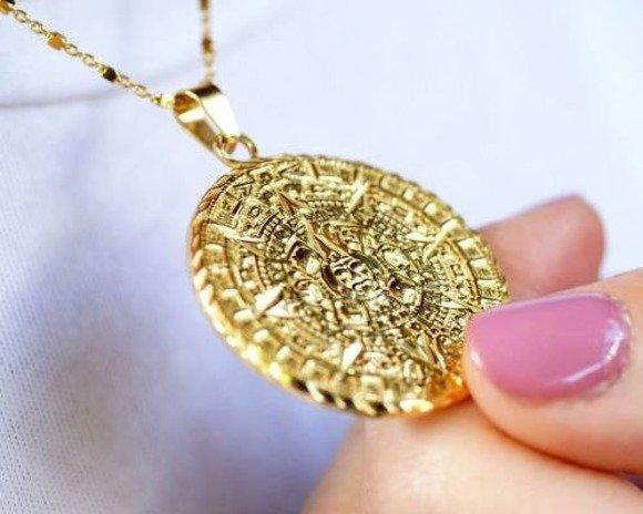 Zawieszka pozłacana duży medalion z kalendarzem majów pr.925