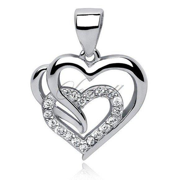 Zawieszka srebrna pr.925 potrójne serce z cyrkoniami